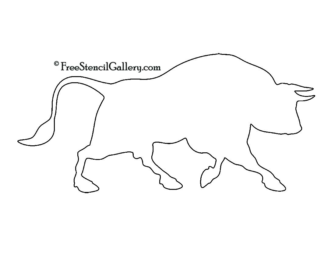 Charging Bull Silhouette Stencil