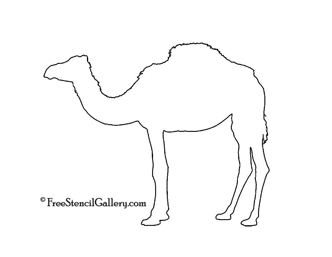 Dromedary Camel Silhouette Stencil