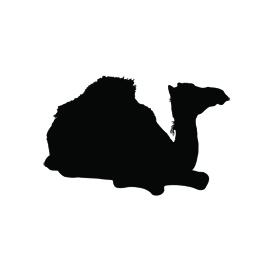 Camel Dromedary Sitting Silhouette Stencil
