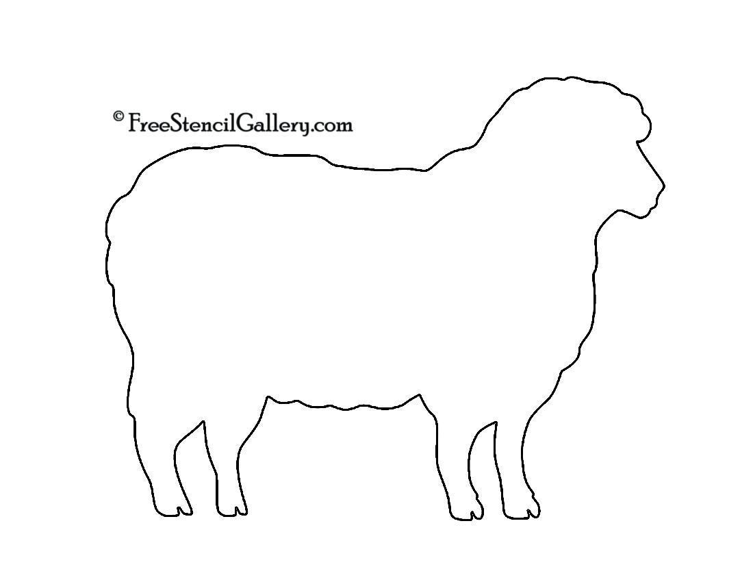 Sheep Silhouette 02 Stencil