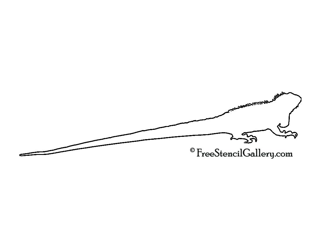 Iguana Silhouette Stencil