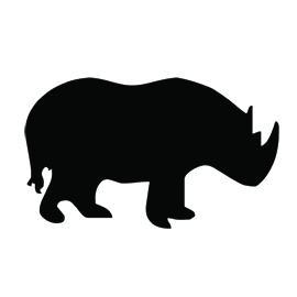 Rhinoceros Silhouette Stencil 02