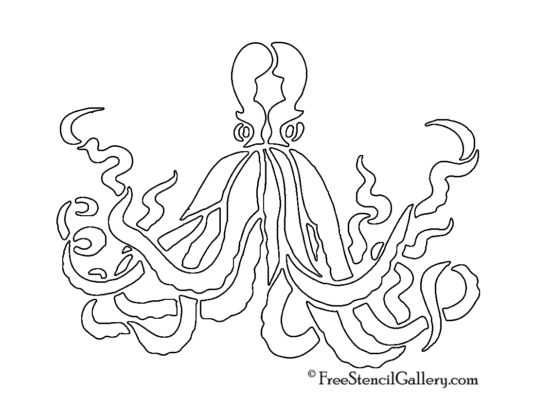 image relating to Octopus Template Printable named Octopus Stencil No cost Stencil Gallery