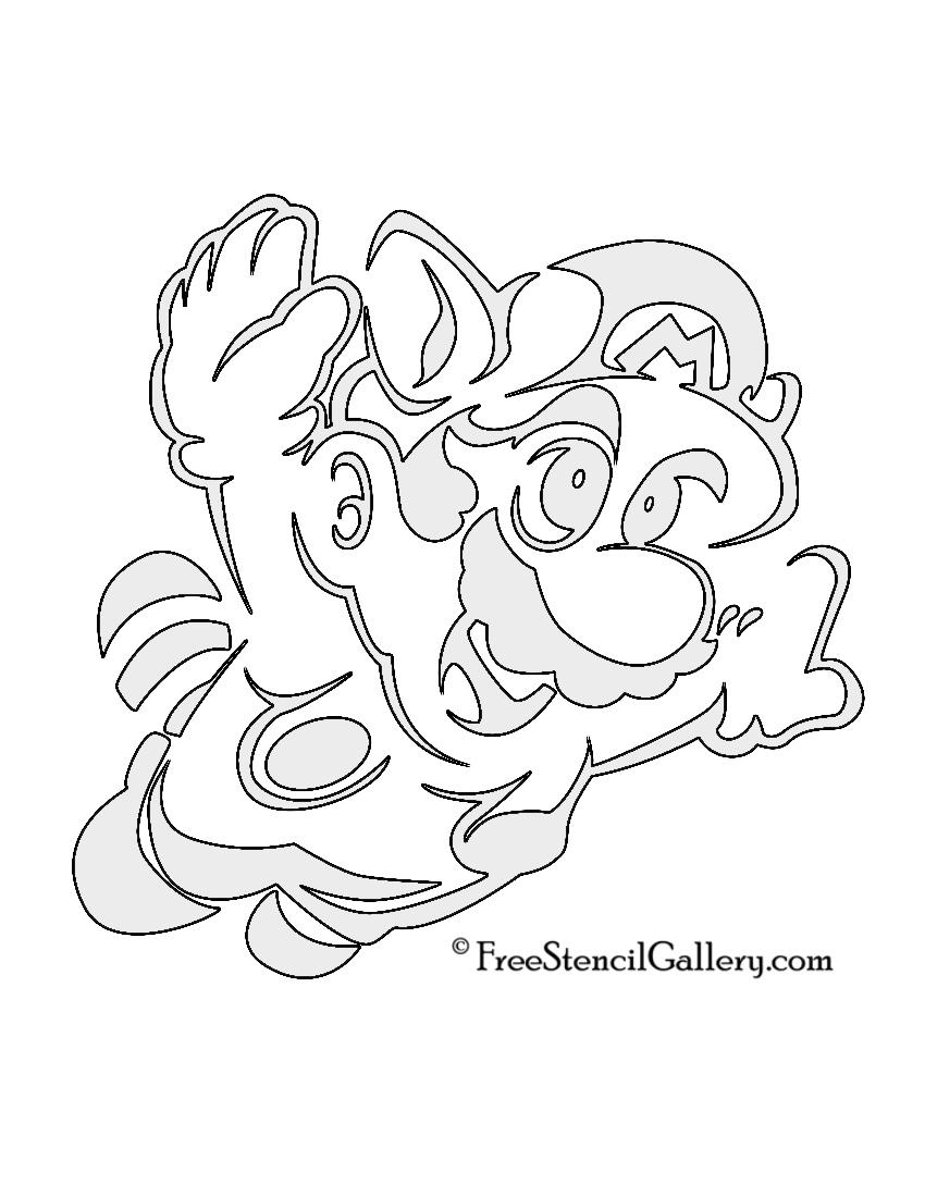 Mario Raccoon Stencil