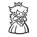 Paper Mario Peach Stencil