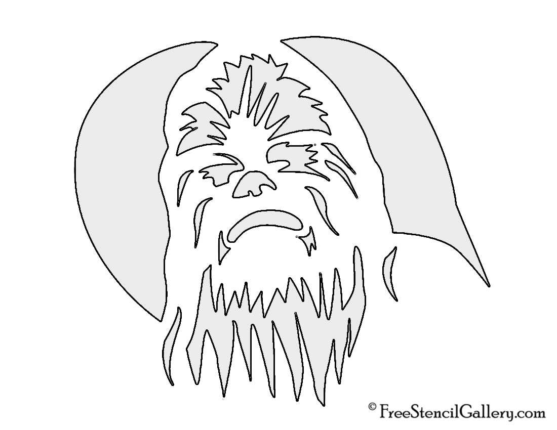 graphic relating to Star Wars Pumpkin Stencils Printable referred to as Chewbacca Stencil No cost Stencil Gallery