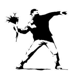 Banksy-Flower Thrower Stencil