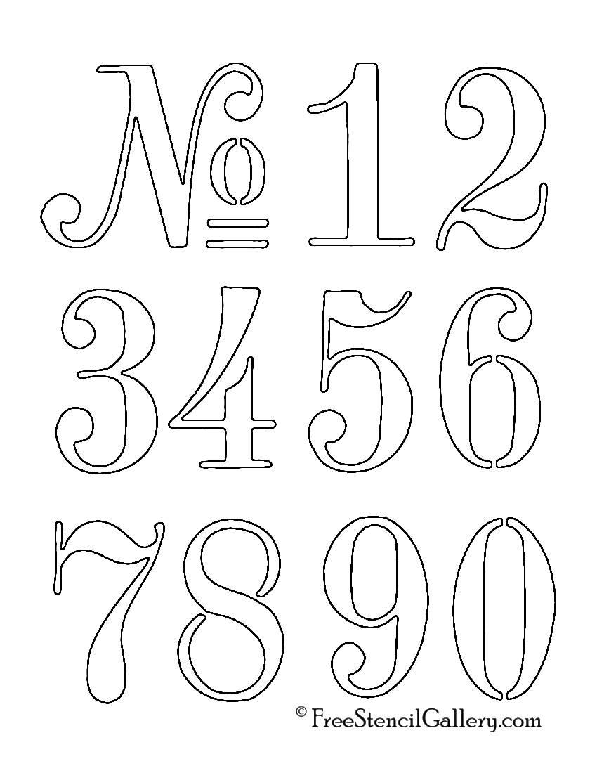 Numbers stencil free stencil gallery for Free number templates to print