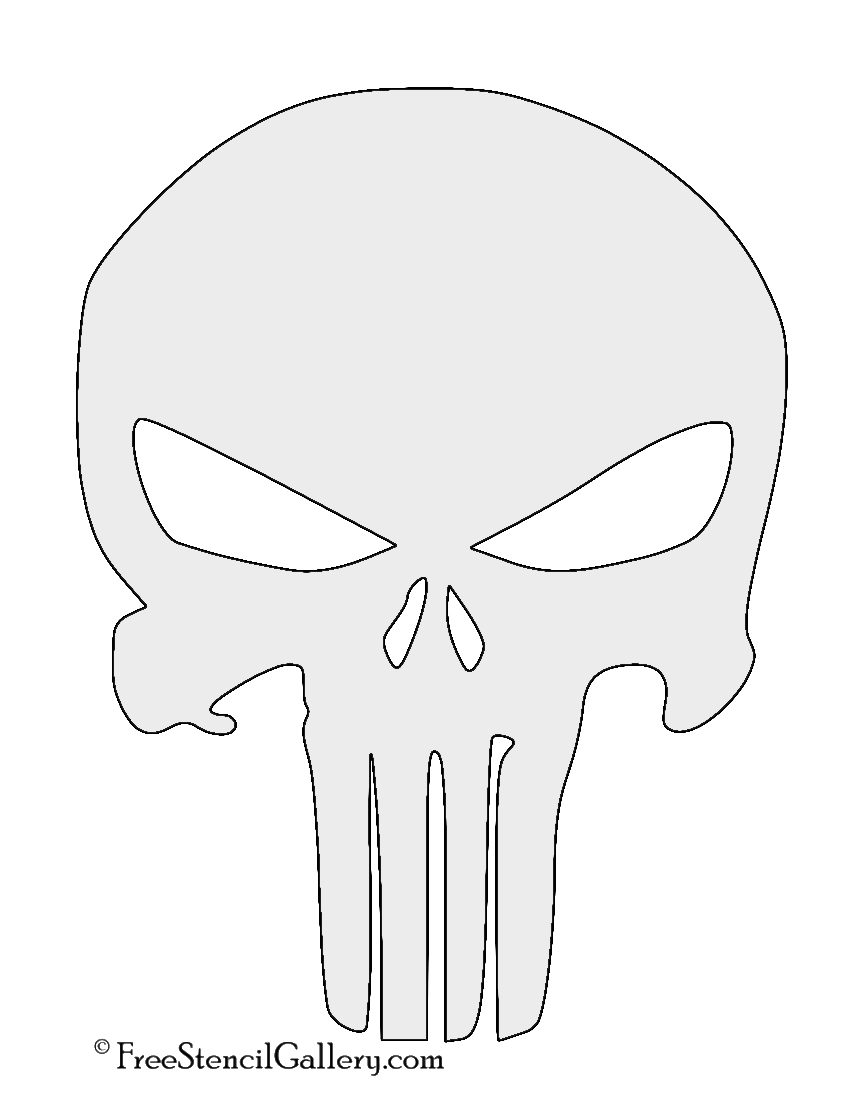 image relating to Skull Template Printable known as Punisher Skull Logo Stencil No cost Stencil Gallery