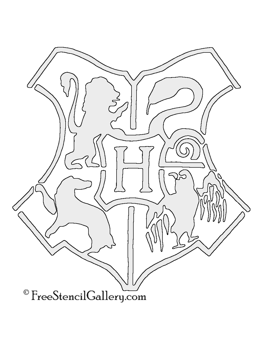photo regarding Harry Potter Stencils Printable identified as Hogwarts Crest Stencil No cost Stencil Gallery