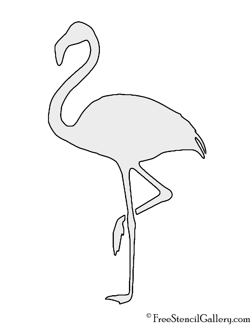 picture relating to Printable Flamingo Template identified as Flamingo Silhouette Stencil No cost Stencil Gallery