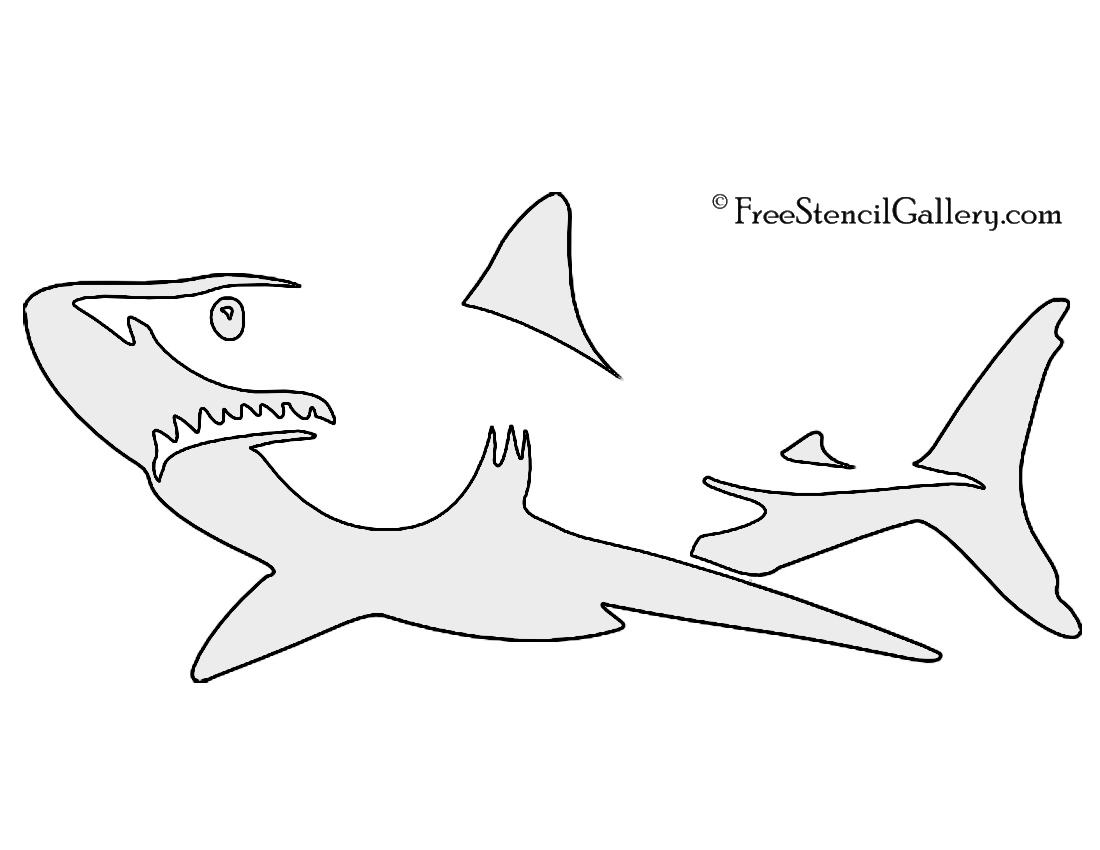 picture relating to Shark Stencil Printable called Shark Stencil Cost-free Stencil Gallery