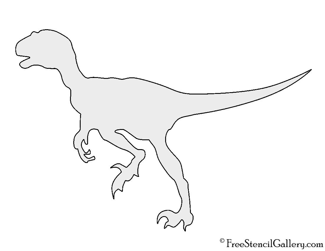 Dinosaur velociraptor silhouette stencil free stencil for Dinosaur templates to print