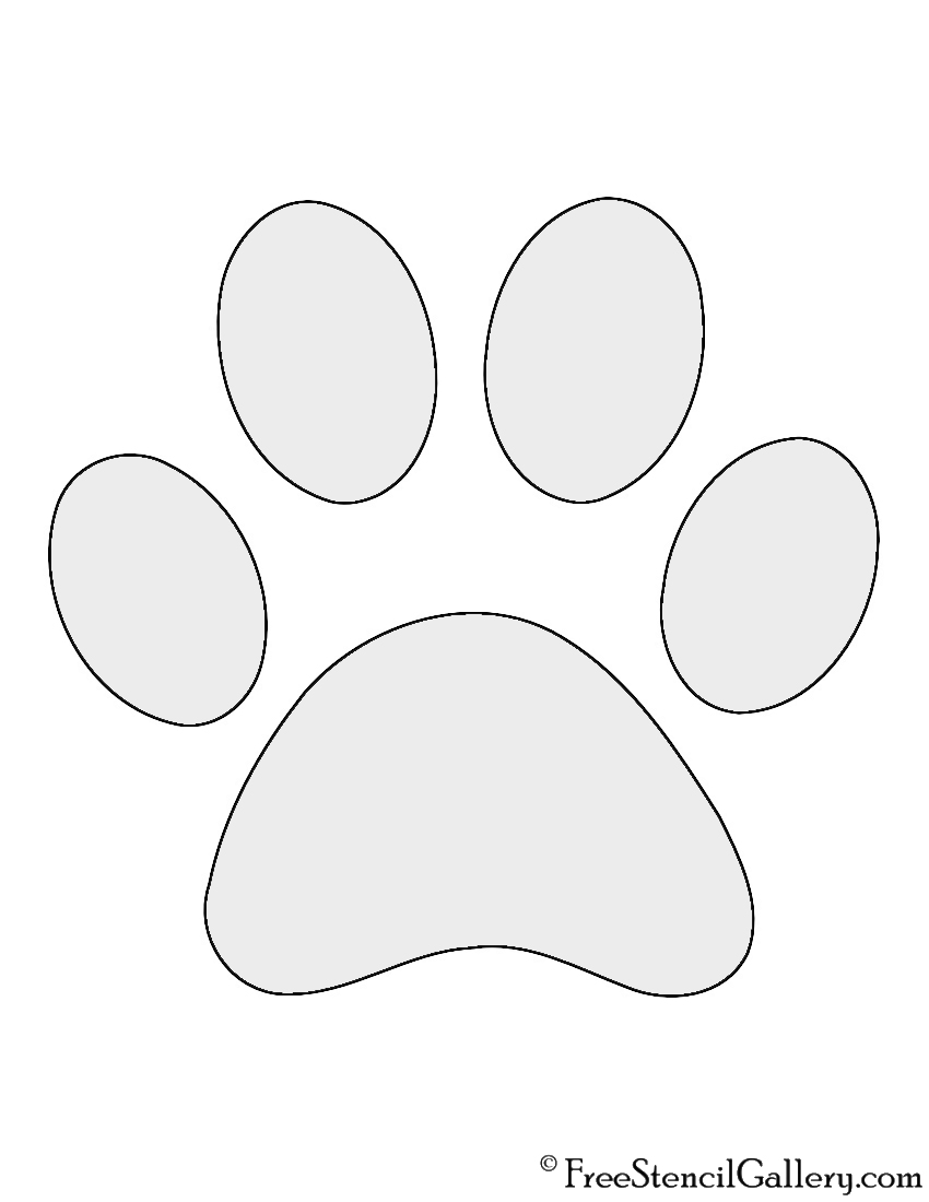 It is a photo of Rare Dog Paw Print Stencil Printable Free