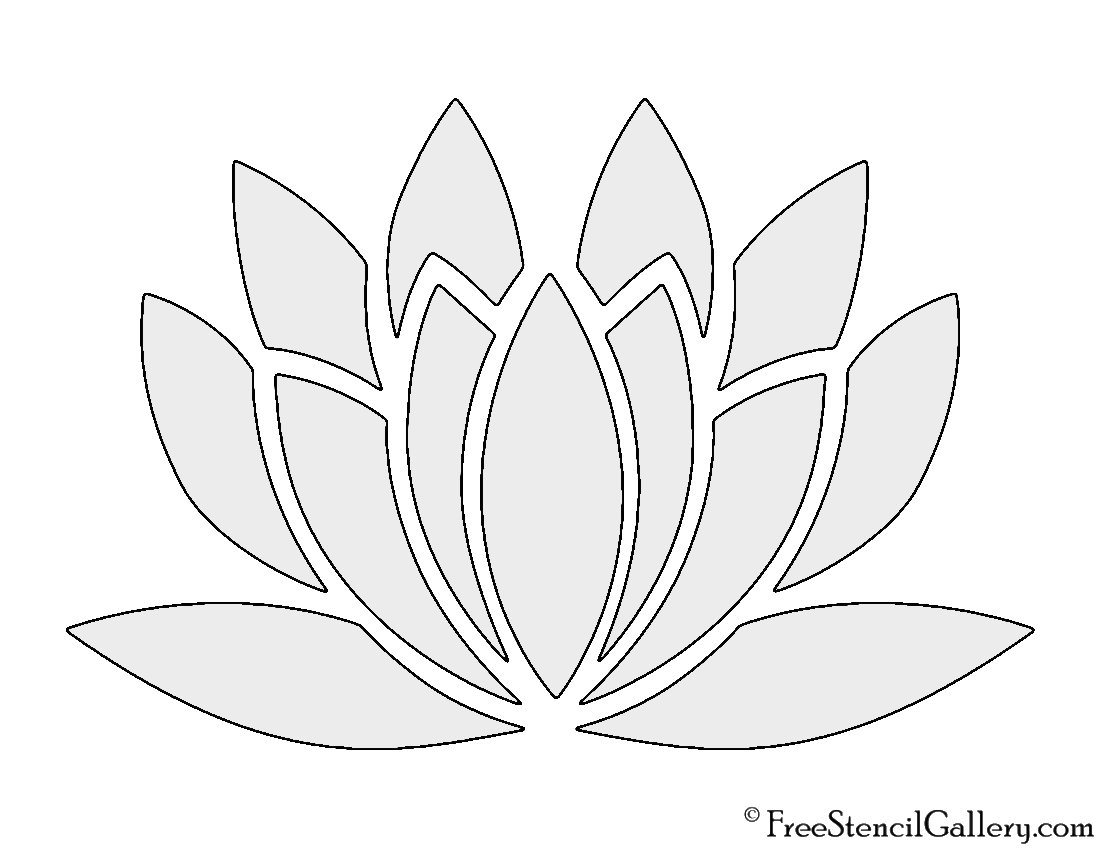 photograph relating to Flower Stencil Printable referred to as Lotus Flower Stencil Cost-free Stencil Gallery