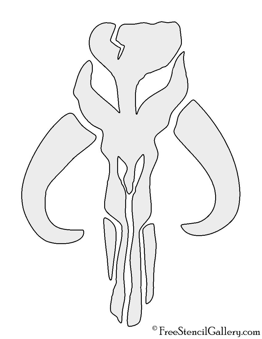 Mandalorian Mythosaur Skull Stencil
