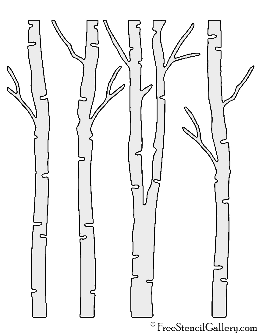 picture about Printable Tree Stencil named Birch Tree Stencil Totally free Stencil Gallery
