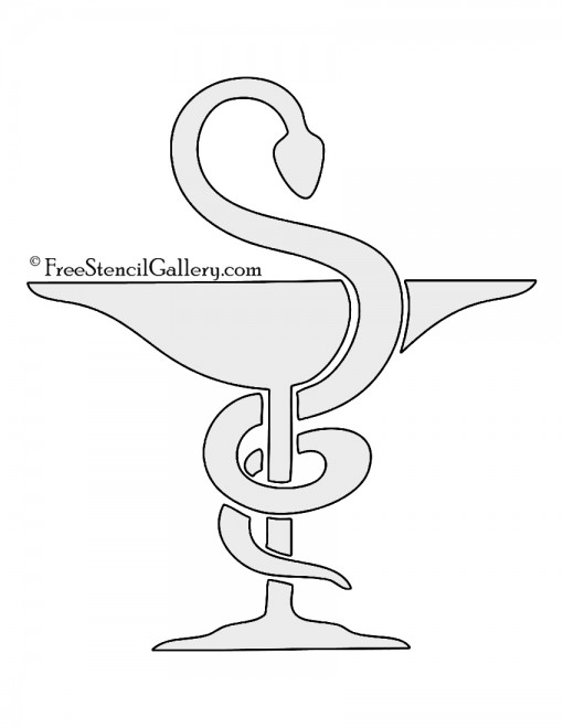 Bowl of Hygieia Pharmacy Symbol Stencil
