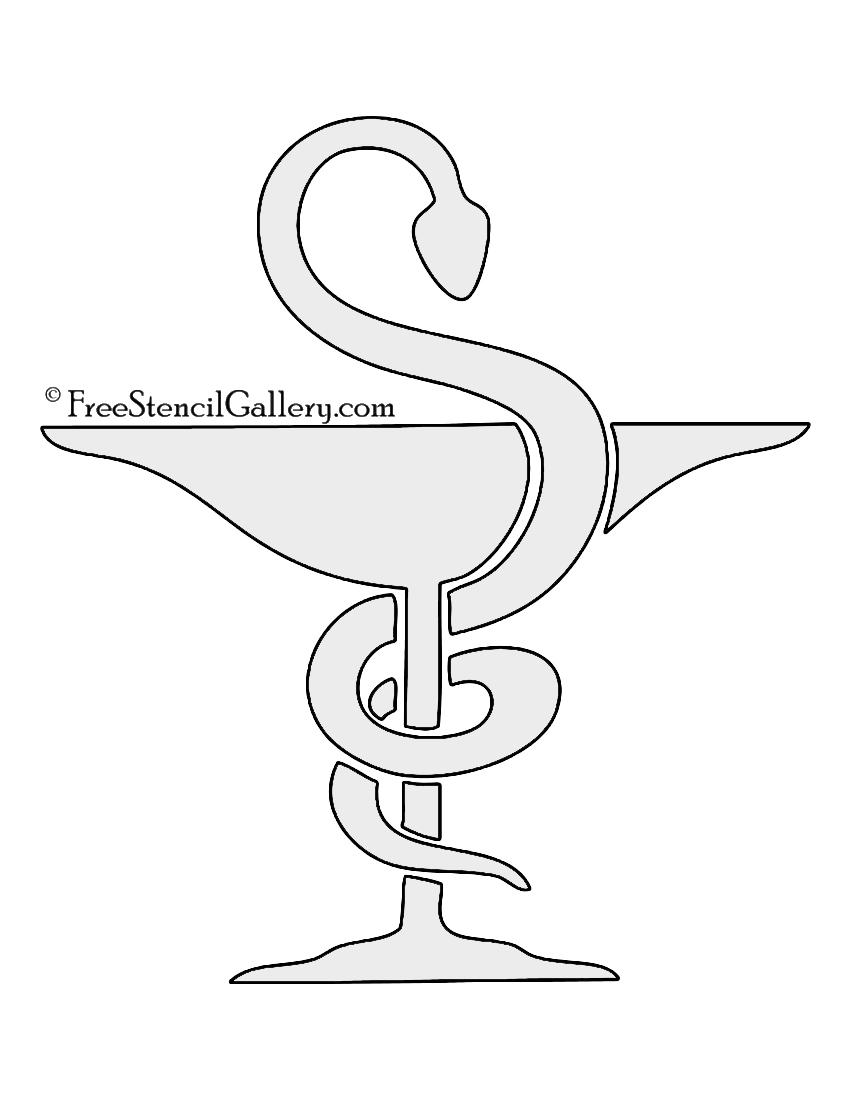 Bowl of Hygieia Pharmacy Symbol Stencil