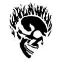 Flaming Skull Stencil