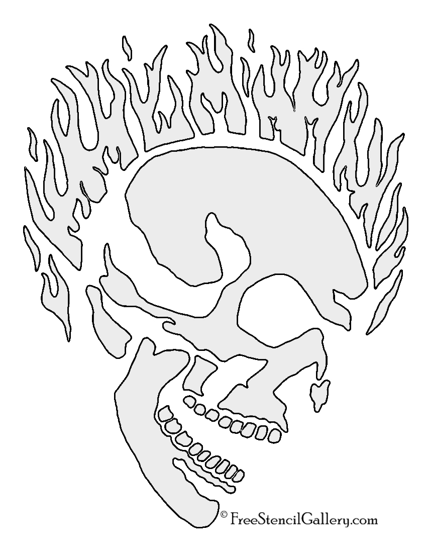 graphic about Flame Stencils Free Printable identify Flaming Skull Stencil No cost Stencil Gallery