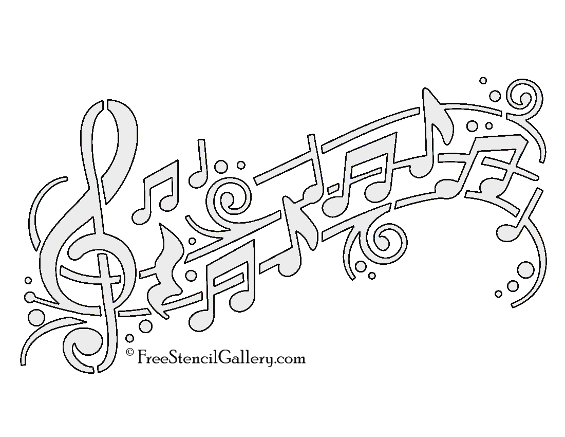 photograph relating to Music Note Stencils Printable called Audio Notes 01 Stencil Absolutely free Stencil Gallery