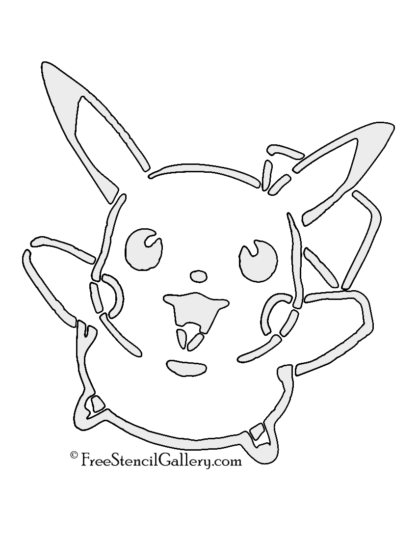 Pokemon pikachu stencil 01 free stencil gallery for Pokemon templates print
