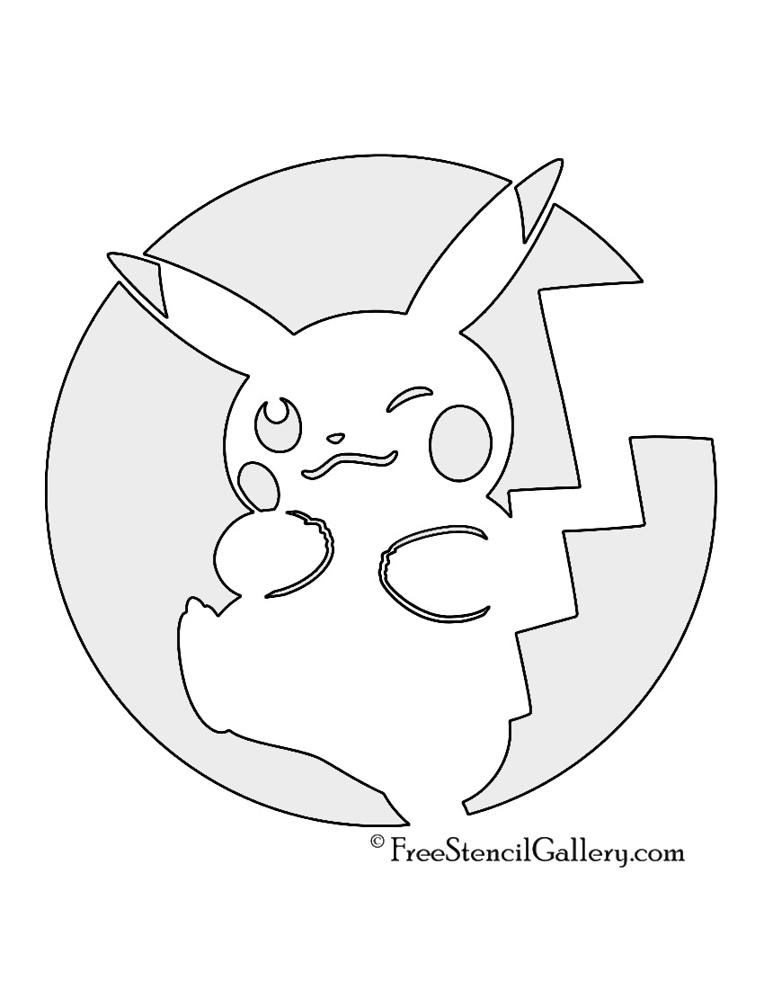 graphic relating to Pokemon Stencils Printable known as Pokemon - Pikachu Stencil 03 Totally free Stencil Gallery