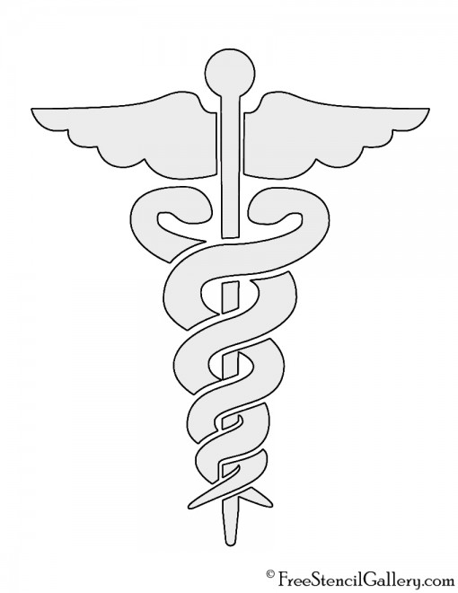 Staff of Caduceus Doctor Symbol Stencil