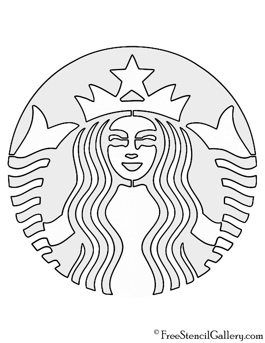 picture about Printable Starbucks Logos called Starbucks Emblem Stencil Free of charge Stencil Gallery