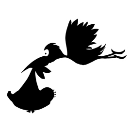 Stork and Baby Stencil