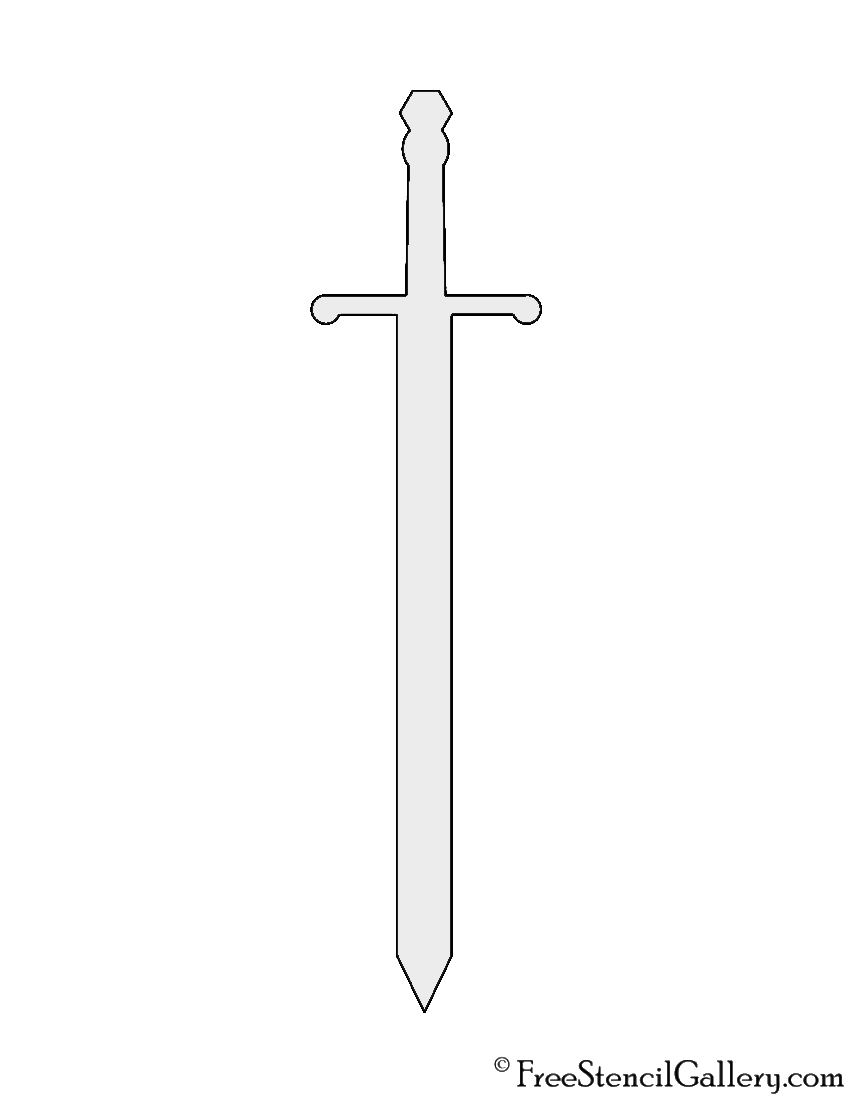 This is a graphic of Bewitching Sword Template Printable