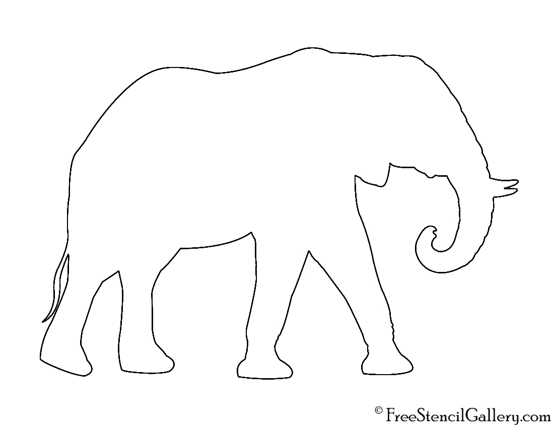 photo relating to Printable Elephant Stencil named African Elephant Silhouette Stencil Free of charge Stencil Gallery