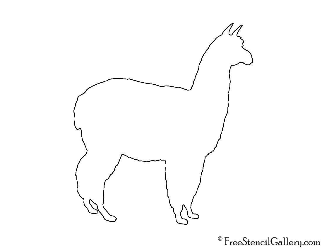 Alpaca Silhouette Stencil