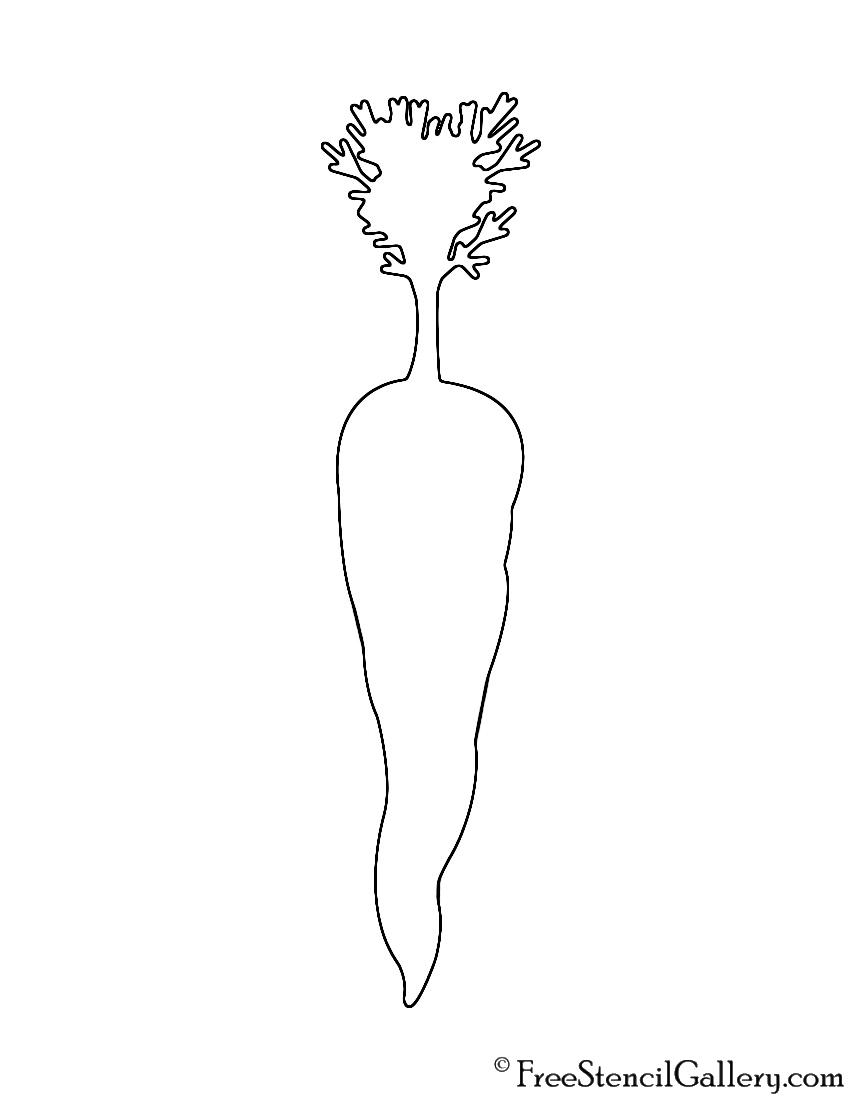 Carrot Silhouette Stencil