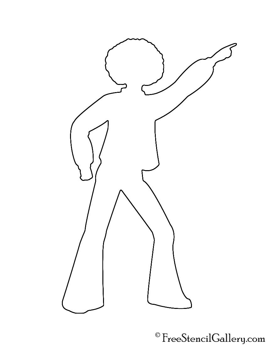 Disco Dancer Silhouette 01 Stencil
