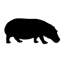 Hippopotamus Silhouette 02 Stencil