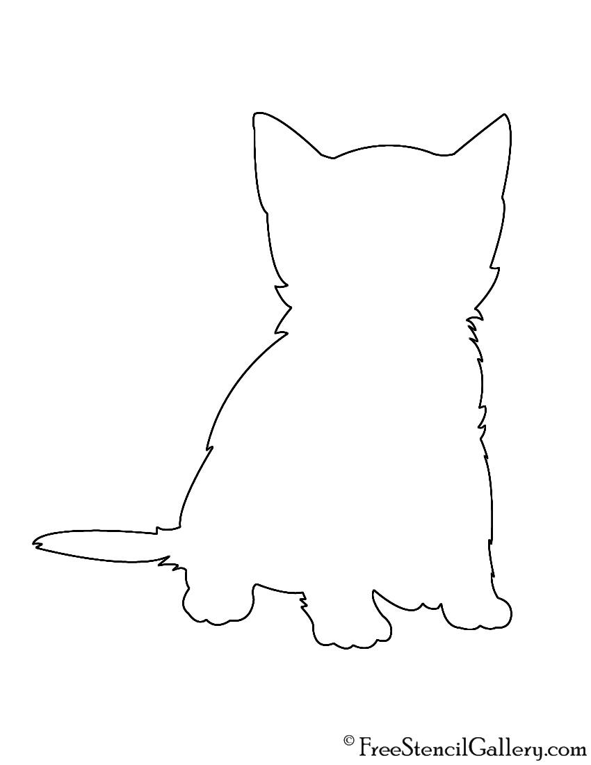 Kitten Silhouette Stencil
