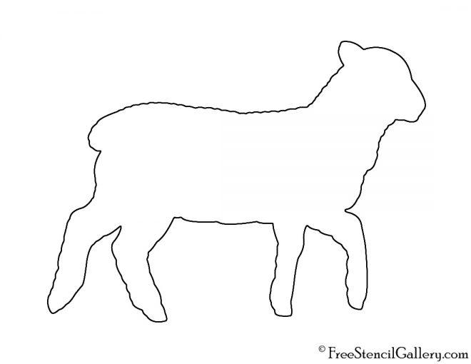 Lamb Silhouette Stencil