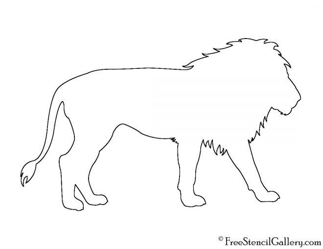 Lion Silhouette 02 Stencil