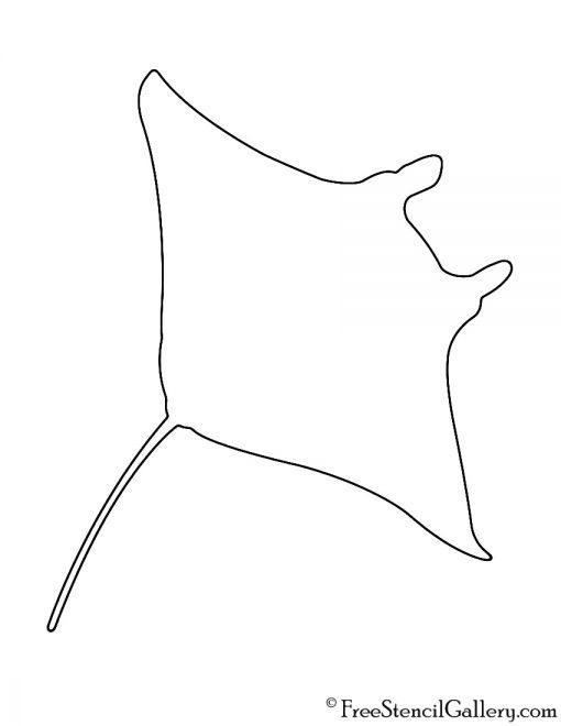 Manta Ray Silhouette Stencil