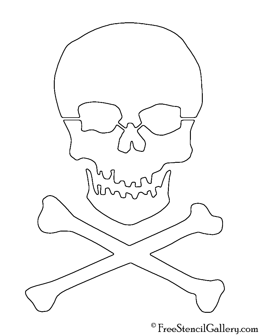 graphic regarding Printable Skull Stencils called Skull and Crossbones Stencil No cost Stencil Gallery
