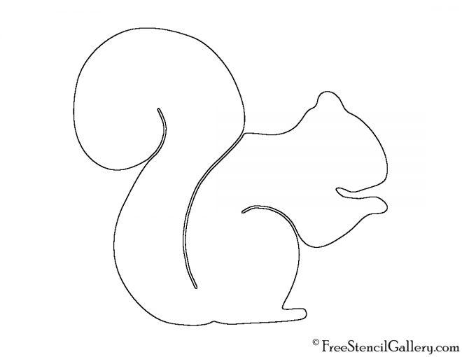 Squirrel Silhouette 02 Stencil