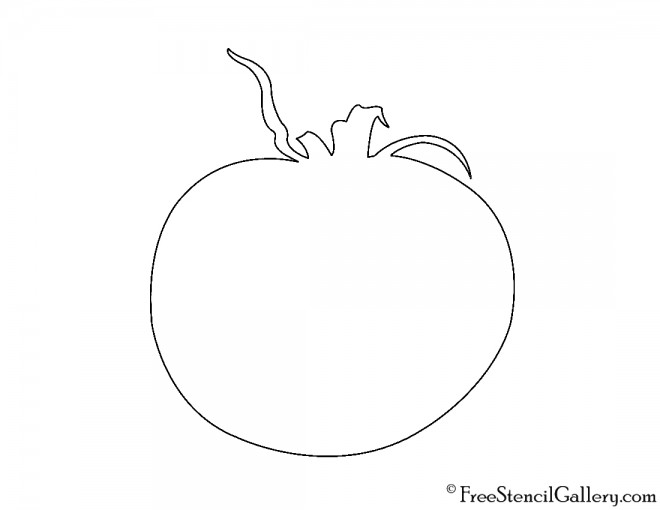 Tomato Silhouette Stencil