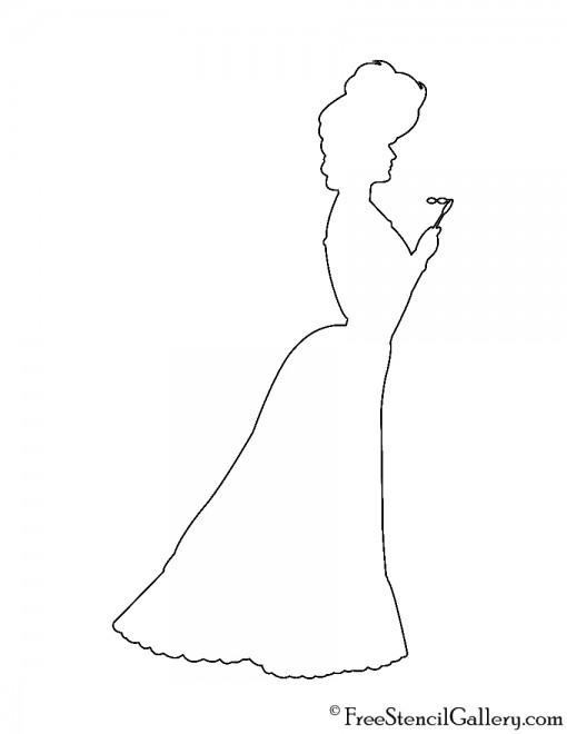 Victorian Woman Silhouette Stencil