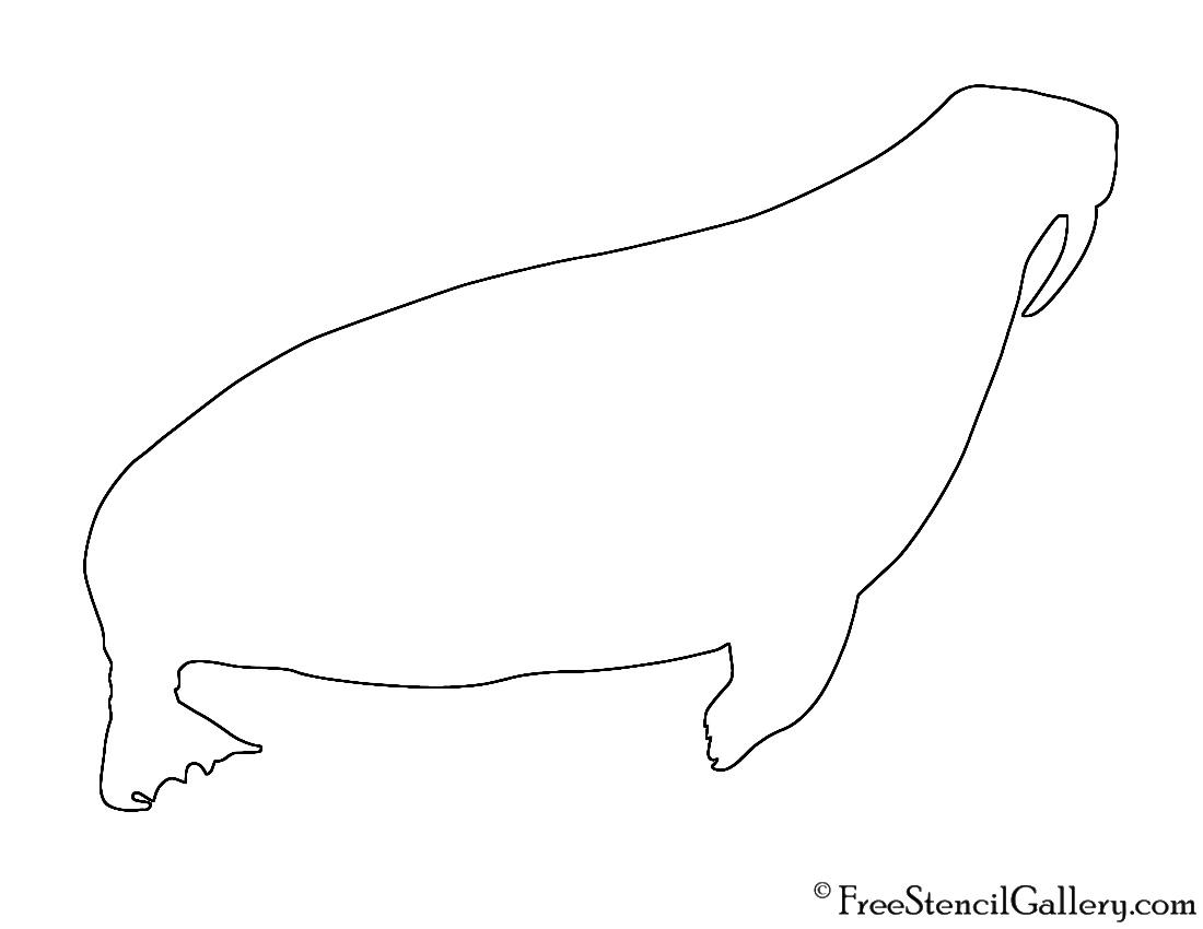 Walrus Silhouette Stencil