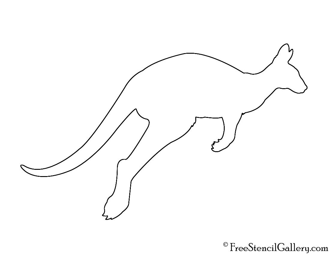 Kangaroo Silhouette Stencil