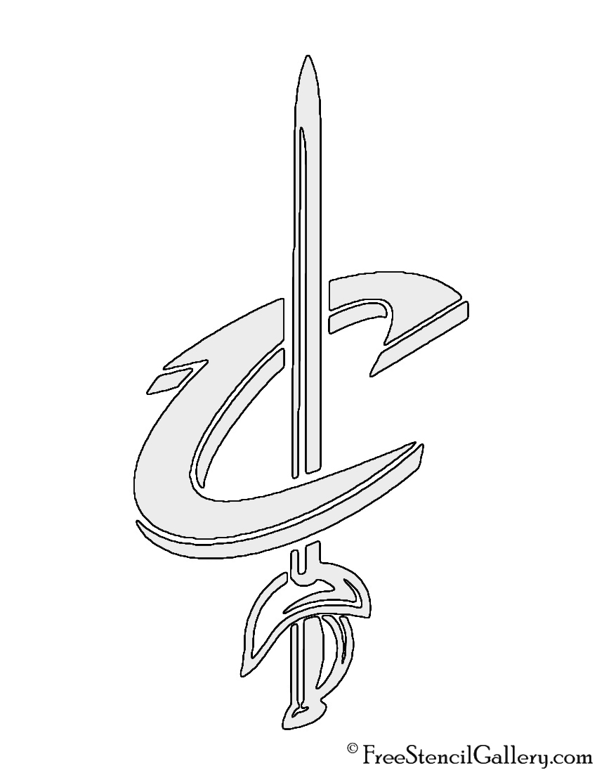 NBA Cleveland Cavaliers Logo 02 Stencil | Free Stencil Gallery