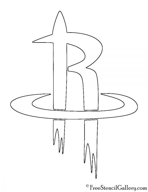 NBA Houston Rockets Logo Stencil