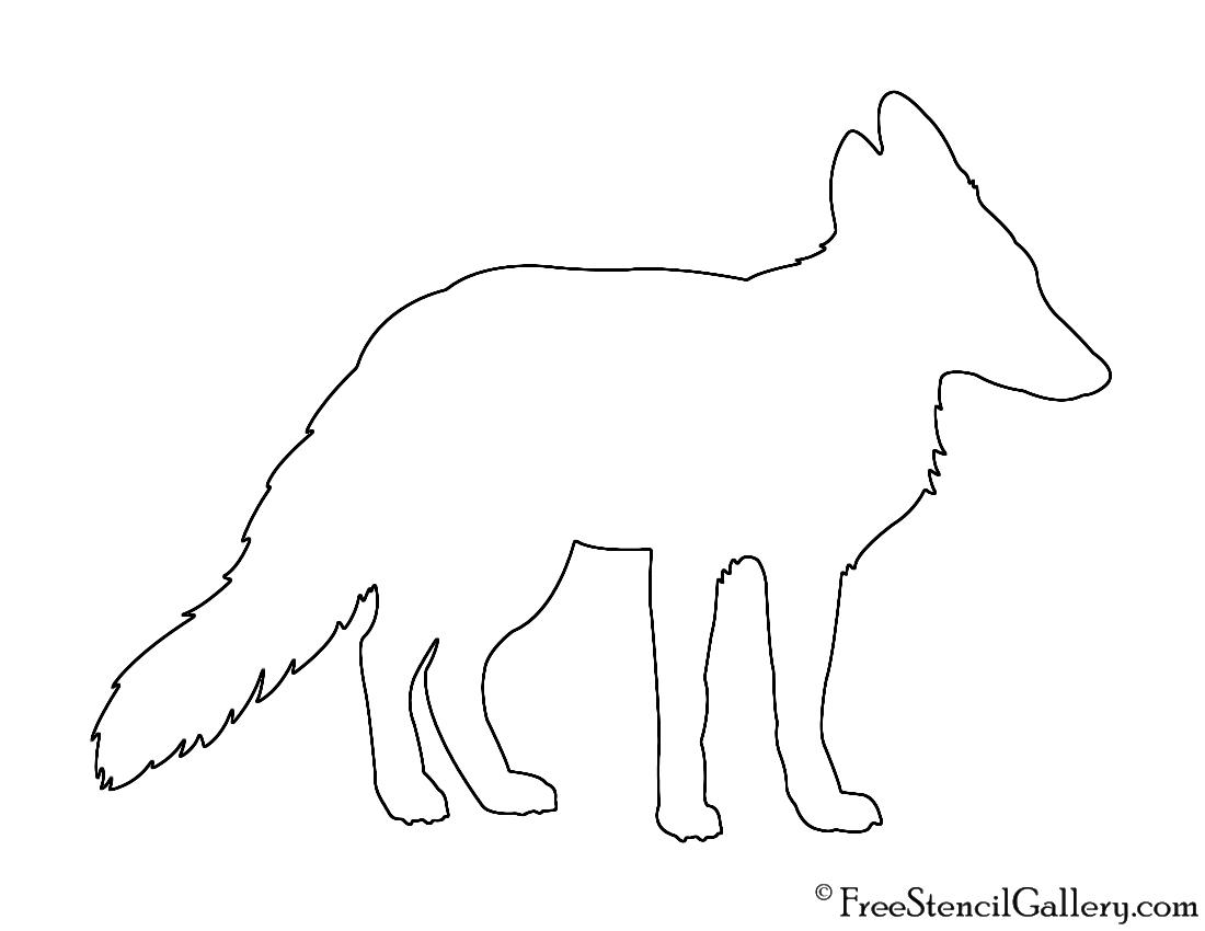 Red Fox Silhouette Stencil